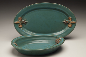 plate and baking dish shown in the green glaze